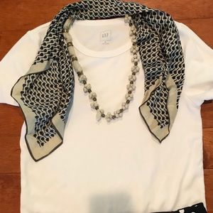 Anthropologie Jewelry - Anthropologie white/blue necklace with scarf